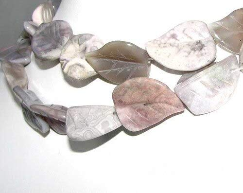 3 Hand Carved Brazilian Agate Leaf Beads for Jewelry Making 9319BA
