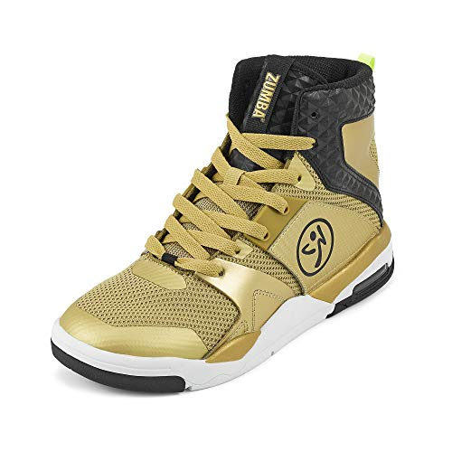 Zumba Air Classic High Top Shoes Dance Fitness Workout Sneakers for Women, Gold 0, 6.5