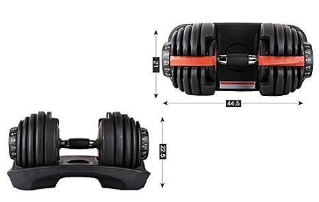 Juego de mancuernas ajustables de Atlas, de 2 a 24 kg con disco de selección para que puedas escoger entre 15 pesos diferentes, kit de 2 unidades: ...