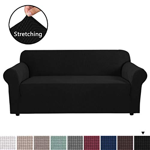 H.VERSAILTEX Stretch Slipcovers, Sofa Covers, Furniture Protector with Elastic Bottom, Anti-Slip Foams, 1 Piece Couch Shield, Polyester Spandex Jacquard Fabric Small Checks(XL Sofa, Black)