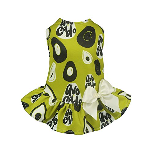 Fitwarm Pet Clothes for Dog Dresses Vest Shirts Cat Apparel Funny Avocado Green