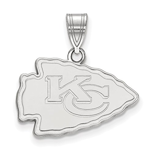 Sterling Silver Rhodium Plated Kansas City Chiefs Medium Pendant, Sterling - Silver Pendant Sterling Kc