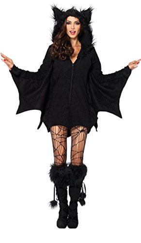 Women's Cozy Bat Costume Black