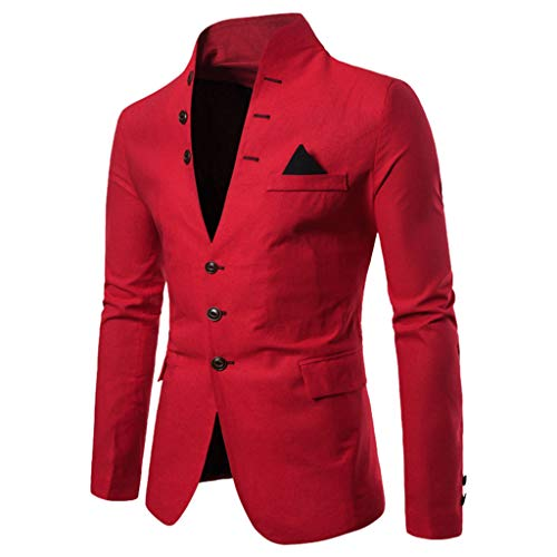 TIFENNY Fashion Formal Blazer Suit Men's Casual Solid Long Sleeve Jacket Stand Neck Multi-Button Coat Office Party Suit