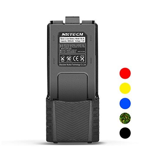 NKTECH BL-5L Extended 3800mAh 7.4V Li-ion Battery for BaoFeng Pofung UV-5R V2 DM-5R UV-5RA BF-F8HP BF-F9 V2+ UV-5R5 UV-5RE Plus UV-5RTP Two Way Radio (2X 2100mAh Li-ion Polymer ()