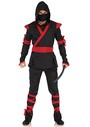 Leg Avenue Mens Ninja Halloween Costume, Black/Red, Medium/Large -