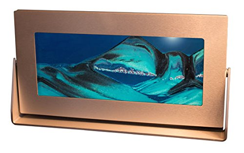 Exotic Sands USA Manufacturer Direct- Md61 Moving Sand Pictures - Medium Silver Aluminum Frame (Ocean Blue) Beautiful Colored Sandscapes. Contemporary Gift Hourglass - (TIMER) (Sand Gift)