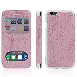 TOPMM Up and Down Window Lightning Lines Pattern TPU and PU Full Body Case for iPhone 6 (Assorted Colors) , Pink
