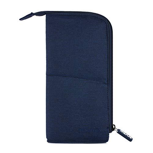 MOSISO Pencil Case Pen Bag Multipurpose Zippered Stylus Organizer Stand Desk Holder for School/Office/Home, Compatible Painting Pen/Fountain Pen/Ball Pen/iPencil/S Pen/Makeup Pencil, Navy Blue