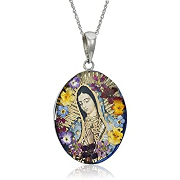 Amazon sterling silver virgin mary of guadalupe pressed flower sterling silver virgin mary of guadalupe pressed flower pendant necklace 18 mozeypictures Choice Image
