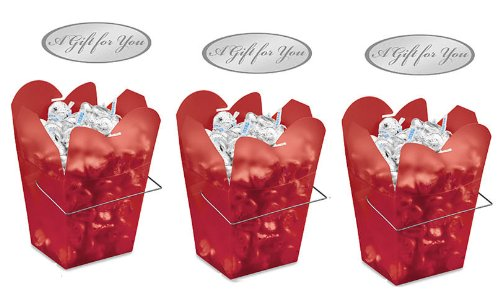 Cakesupplyshop Packaged Elegant Christmas Red Frosted Chinese Take Out Boxes Quart Size Party Favor Food Pail -12pack Frosted Take Out Boxes