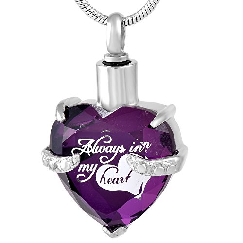 constantlife Beautiful Crystal Heart Stainless Steel Cremation Pendant Ashes Keepsake Memorial Urn Necklace (Z-Purple)