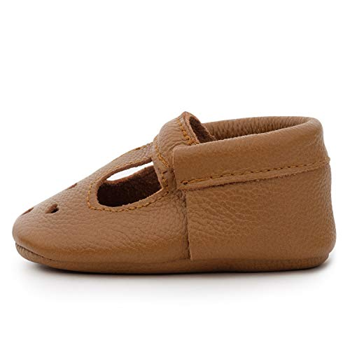 BirdRock Baby Mary Janes (Genuine Leather) - Soft Sole Baby Girl Shoes for Newborns, Infants, Babies, and Toddlers - T-Strap Mary Jane Shoe for Girls (Classic Brown, US 2)