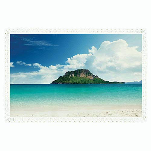 (iPrint Ocean Island Decor,Rectangle Polyester Linen Tablecloth/Poda Island in Thailand South Asian Tropic Paradise Hot Sun with Clouds Photo/for Dinner Kitchen Home Décor,60