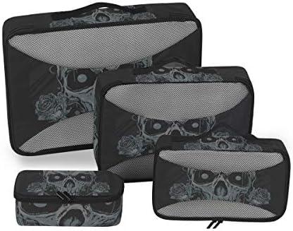 ダイヤモンドスカルローズアートワーク荷物パッキングキューブオーガナイザートイレタリーランドリーストレージバッグポーチパックキューブ4さまざまなサイズセットトラベルキッズレディース