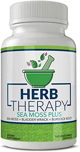 Herb Therapy Sea Moss Plus (100 Capsules) 1500 Milligrams of Irish Sea Moss Bladderwrack Burdock Root. Vegan Alkaline Supplements Non-GMO Thyroid Support Keto Detox Joint Support No Fillers