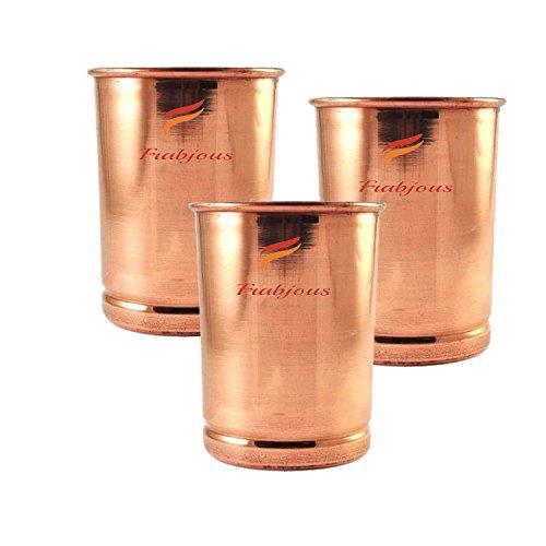 Frabjous Plain Copper Glass Tumbler,Serveware  amp; Drinkware Set, Ayurveda 300 ml Set of 3