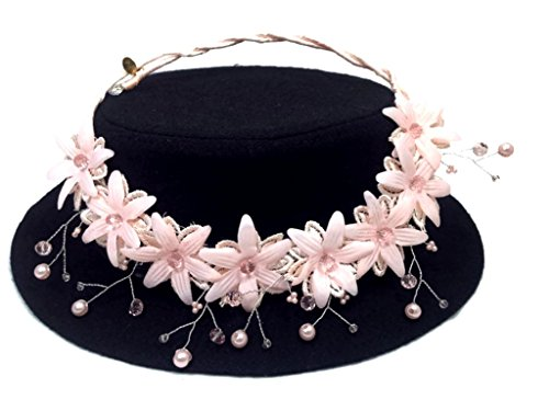 Costume David Designer Dangle (MeTHan Vintage Lace Pearl Flower Headband Nacklace :VT2)