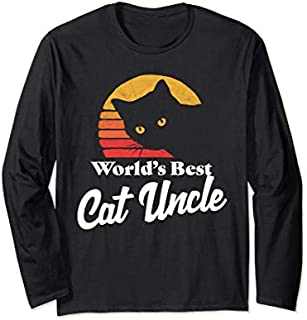 Cat Uncle Vintage Eighties Style Funny Retro Long Sleeve T-shirt   Size S - 5XL