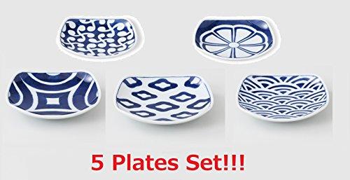 [5 Plates Set!!!] Saikai Pottery Japanese Small Square Plate