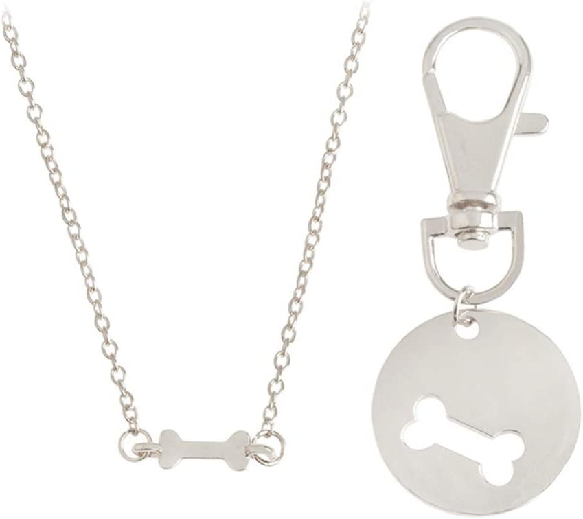 Amosfun Novelty Puzzle Necklace and Keychain Set Dog Bone Charm Tag Necklace Key Chain Owner and Dog Lover Best Friends Matching Necklace Keyring 2 Set