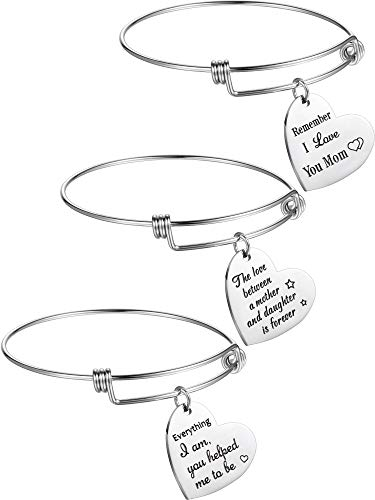 Norme 3 Pieces Mom Bracelets Gift Love Mom Charm Bracelet Adjustable Bangle Bracelet Mother's Day Birthday Gift Supplies from Daughter Son (Mother Between Daughter) -