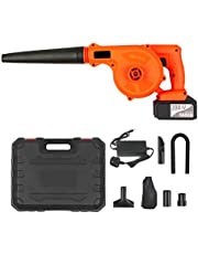 Cordless Leaf Blower 21V 4.0A Lithium 2 in 1 Sweeper and Vacuum Electric Air Blower Computer Cleaner Garden Power TooL Kit with Suction Hose