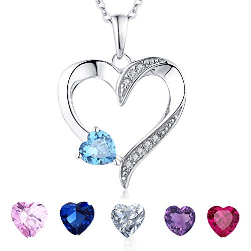 YL Heart Necklace Sterling Silver Created Aquamarine Love Shaped Cubic Zirconia Pendant Anniversary Gift
