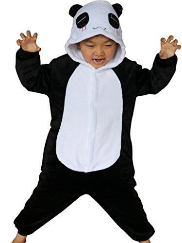 [Kids Animal Onesie Pajamas Panda Costume for Halloween Footie Sleepsuit XL] (Costume Homme Deguisement)