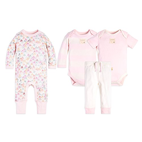 Majestic Line - Burt's Bees Baby Unisex 4-Piece Clothing Set, Bodysuit, Romper Pant Bundle, Majestic Mountains, 0-3 Months