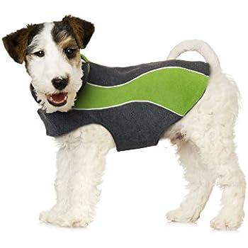 """Kakadu Pet Explorer Fleece Reflective Dog Coat, 10"""", Grass (Green)"""