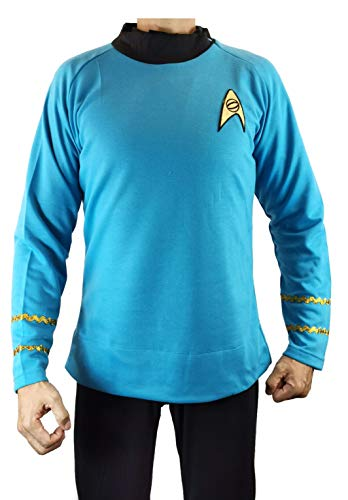 Star Trek Captain Kirk Spock Classic Shirt Costume Uniform TOS (M, Blue) ()