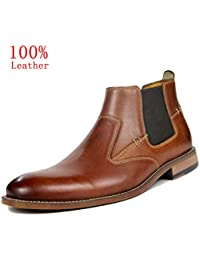 Chelsea Boots Men Leather Ankle Slip-on Boot Black Brown Formal Dress Casual Moccasins Shoes