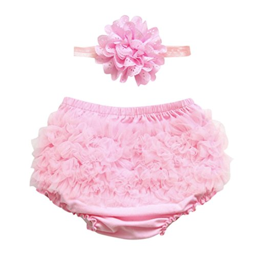 Fabal Toddler Baby Girl Ruffle Bloomers Diaper Cover Pants Headband Set (12M, (Solid Bloomers)