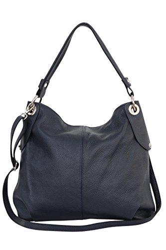 AMBRA sac Bleu Sac sac tout cuir à bandoulière Sac fourre GL012 à Moda à bandoulière véritable Marine main femme XxnxC8P