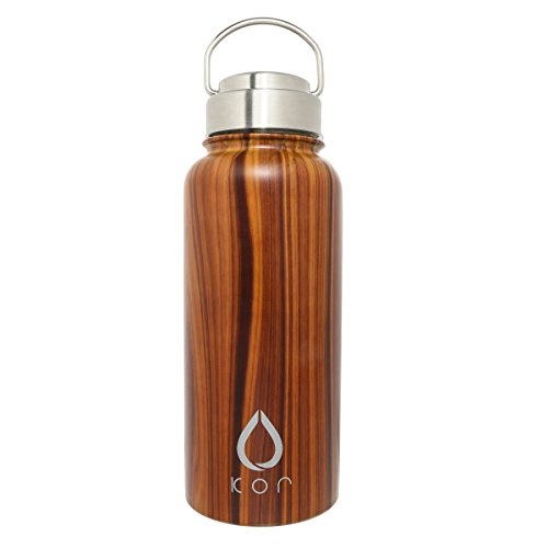 KOR ROK Double-Wall, Stainless Steel Water Bottle - Vacuum Insulated, Plastic-Free, Temperature Controlled, Keeps cold 24hrs and warm 12hrs. Leak & Sweat Proof (Polished Oak)