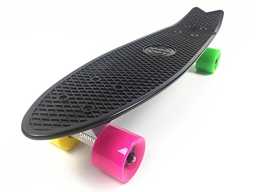 wonnv-retro-mini-cruiser-22-inch-complete-skateboard-black-deck-with-4-color-wheels