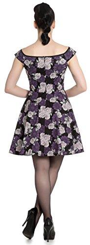 Kleid mit Rosen Muster Hell Lila Mini Damen Ilsa Schwarz Dress mehrfarbigem Bunny EwwzCqFf