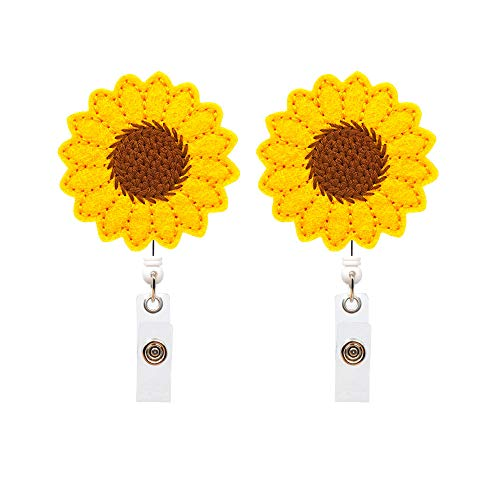 YOROYAL 2 Pack Sunflower Badge Reel, Alligator Clip, Retractable ID Badge Holder Clip for Women Nurse