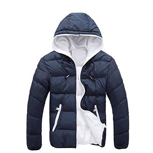 Parka Hoodie Slim M Down Warm Coat Navy Jacket Familizo Navy Hooded Men Casual Winter Jacket Men Thick Overcoat qx7ZIWw16