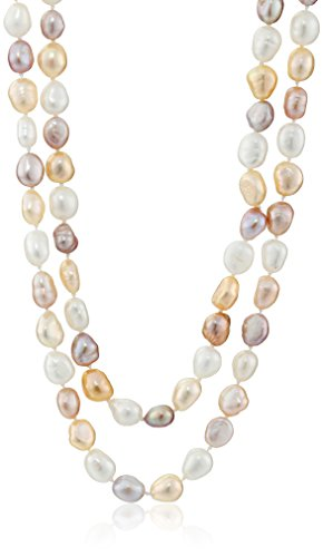 Necklace Freshwater Pearl Multi (6-7mm Multi-Tonal Dyed Pink Baroque Freshwater Cultured Pearl Endless Necklace, 50