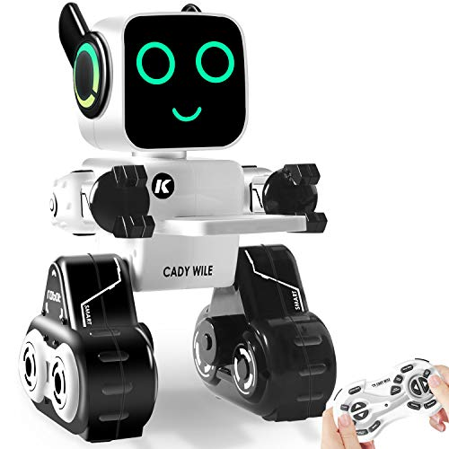 IHBUDS Remote Control Toy Robot for Kids,Touch & Sound Control, Speaks, Dance Moves, Plays Music. Built-in Coin Bank. Programmable, Rechargeable RC Robot Kit for Boys, Girls All Ages - White/Black]()
