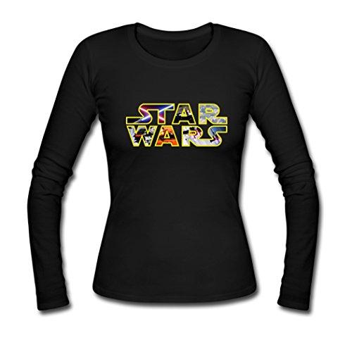 [AHHACHI Womens Star Wars Logo Long Sleeve Tees Medium Black] (Cheap Star Wars Shirts)