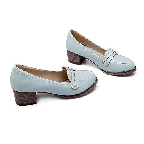 VogueZone009 Damen Ziehen auf Mittler Absatz PU Leder Rein Rund Zehe Pumps Schuhe Blau