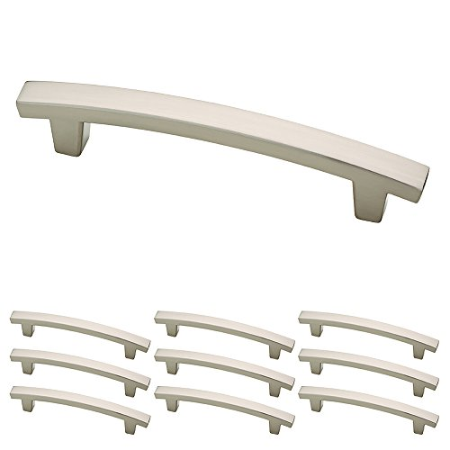 Franklin Brass P29615K-SN-B Pierce Kitchen or Furniture Cabinet Hardware Drawer Handle Pull, 4-Inch  C-to-C, 10 pack