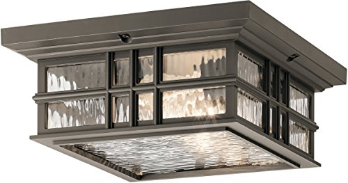 Kichler 49834OZ Beacon Square Outdoor Flush Mount, 2-Light 150 Total Watts, Olde Bronze