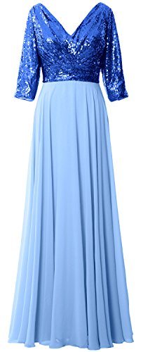 Women Neck Gown Chiffon Wedding Royal Blue Sky Mother Formal Blue Dress Sleeve 4 3 V MACloth Sequin dvzqfXd7