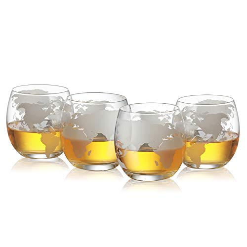 (Etched World Globe Glasses 12 oz -Set of 4 by The Wine Savant, Whiskey Scotch, Vodka Water or Juice Old Fashion Glasses, Lead Free - Beautiful Gift Box)