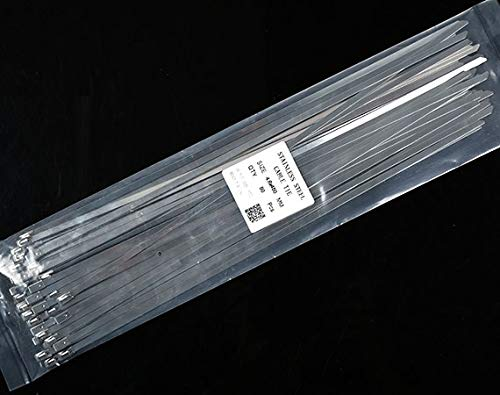 NAHASU Cable Ties | 50Pcs S201 Stainless Steel Metal Cable Tie Width 4.6mm Zip Strap Locking Exhaust Pipe Header 200-700mm 550mm 600mm 650mm 6-28
