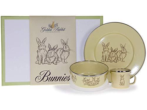 Golden Rabbit - Enamelware Yellow Bunnies Pattern - Kids 3 Piece Dinner Set